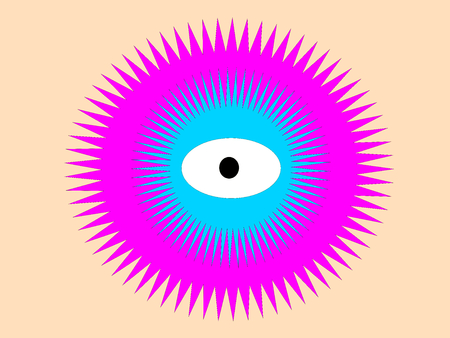 Abstract eye on beige background with blue photo