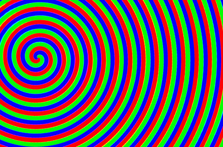 deform: The colorful spiral of blue green red Stock Photo