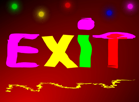 emergency exit: Emergency Exit written colored red black background Stock Photo