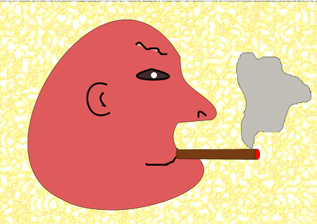 cigar smoking man: Illustration of a bald man with a cigar