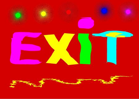 emergency exit: Emergency Exit written colored red black background-vector, illustration