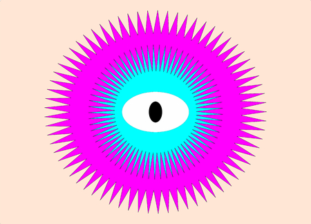 Abstract eye on beige background with blue-vector, illustration Vector