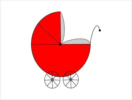 Red baby pram isolated on white Vector