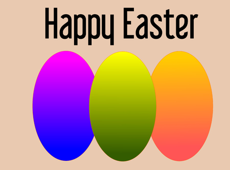 Happy Easter with three colored eggs-vector illustration Vector