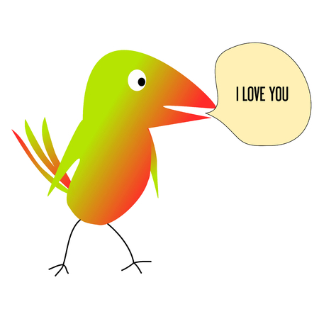 Colourful bird on a white background I love you-vector illustration Vector
