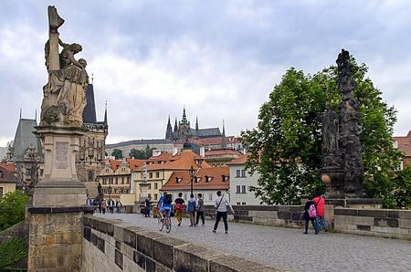 citytrip: Prague Czech RepublicMay 19 2015 Prague Castle view from the Charles Bridge