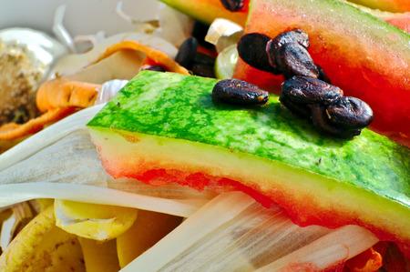 cesium: Vegetable scraps in a white plastic bowl bio waste, carrots, cesium, watermelon, potato peels, leek Stock Photo
