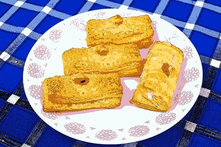puff pastry: Illustration of puff pastry with apricot filling, cartoon Stock Photo