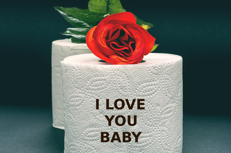 baby love: White toilet paper with red rose on a black background with the words I love you baby, fun, joke
