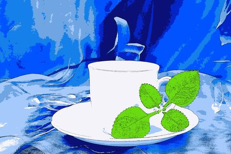 still life food: Illustration of white cup with Cuban oregano on a blue backdrop, art, still life Stock Photo