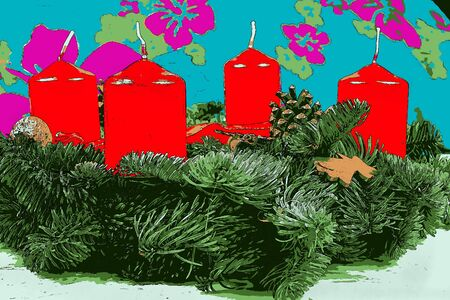advent candles: Illustration of advent wreath with red candles Stock Photo