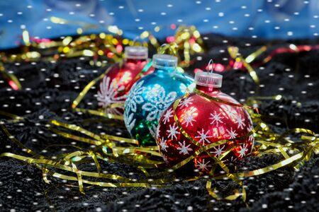black velvet: Christmas decoration with snowflakes on black velvet, Christmas tree decoration