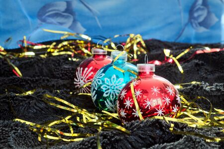 black velvet: Christmas decoration on black velvet, Christmas tree decoration