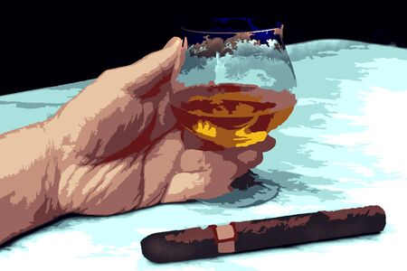 cigar smoking man: Illustration of hand of a man with a cigar and a glass of brandy on the marble table, cognac, smoking, people, men