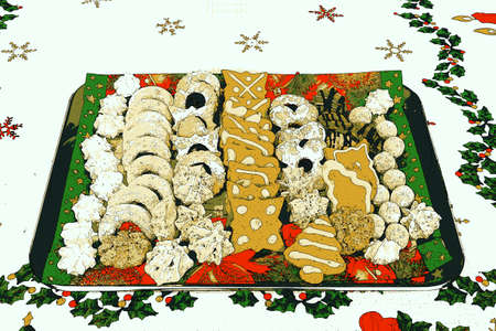 homemade: Illustration of homemade Christmas gingerbread, abstract, Xmas Stock Photo