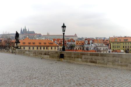 czech culture: rague, Czech Republic - January 4, 2016: Prague Castle view from the Charles Bridge, tourism, culture, nation