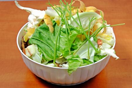 desechos organicos: restos de frutas y vegetales, residuos de cocina en un tazón de plástico blanco de col zanahorias cebollas Foto de archivo