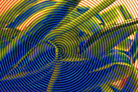 blue spiral: Blue spiral with green and yellow shapes, decoration, illustration