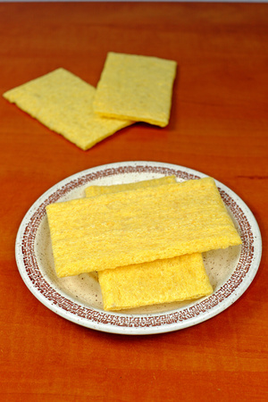 free plate: Corn fiber sandwiches on a plate on the wooden table, food, gluten free