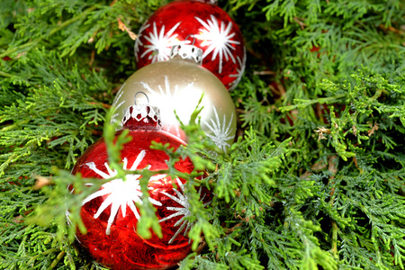 pine three: Three colorful Christmas decorations on green pine needles, red and silver, Santa Claus, Christmas time