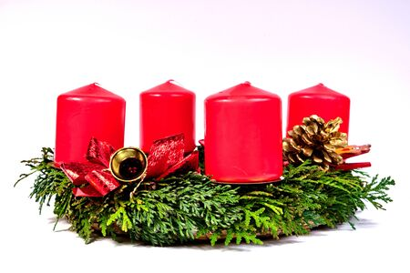 Advent wreath with red candles on a white background isolated Stock Photo