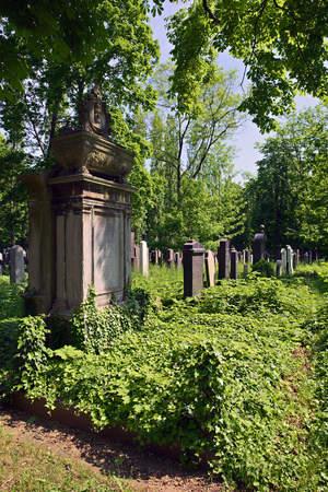 Prague, Czech Republic-23 May 2017: New Jewish Cemetery in Prague Editorial