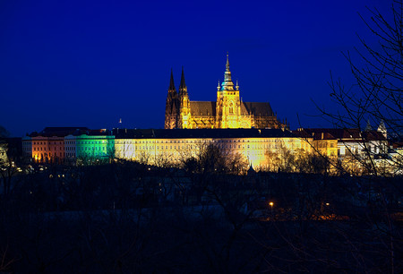 Prague Castle Cathedral Saint St Vitus by night, travel