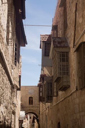 ISRAEL, JERUSALEM - MAY 15, 2014: Narrow street in Old City Stock Photo