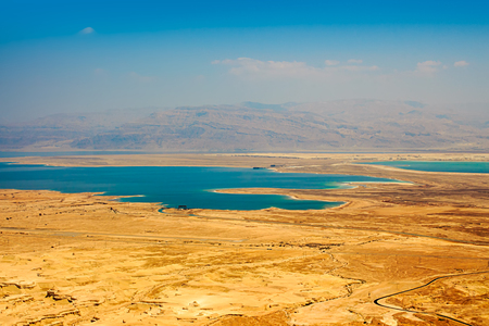 Lanscape of the Dead Sea in the Judaean Desert from Massada fortress - Israel