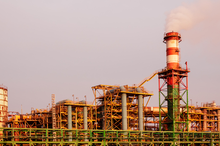 Frames, Pipes and chimney of chemical plants Stock Photo