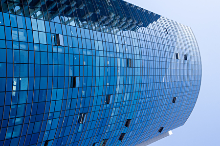 architectural firm: Perspective view of commercial office building Stock Photo