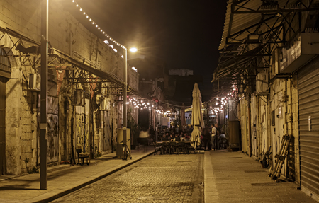 Illuminated street of old Jaffa