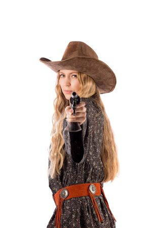 Girl with a cowboy hat and a gun Banque d'images