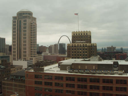 Skyline of St. Louis on cloudy day photo