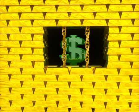 Green sign dollar in cage from gold bricks and chains photo