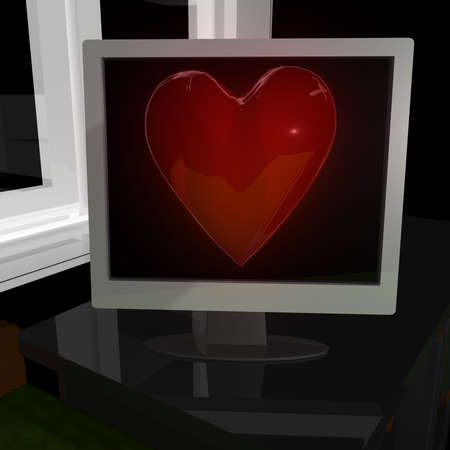 Volume red heart in display