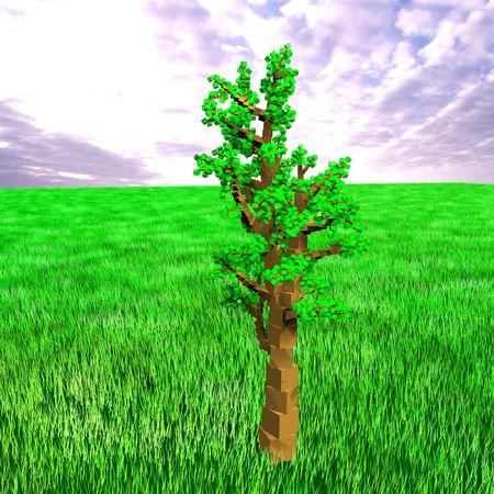 Cube tree Stock Photo