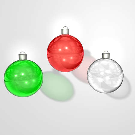 Glass christmas balls in white background