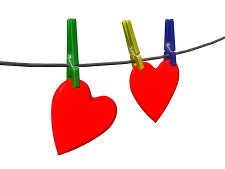 two heart on cord with pins photo