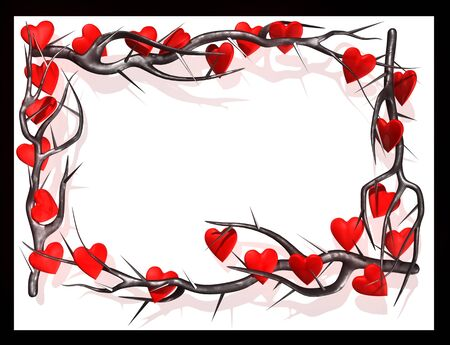 Gothic frame with burs branch and hearts Stock Photo