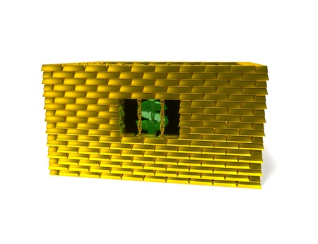 3d image: Dollar in gold cage