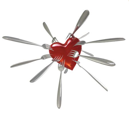 Forks in Heart Stock Photo