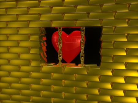 Heart on gold cage photo