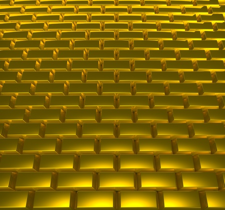 cobblestone street: Road from gold ingots Stock Photo