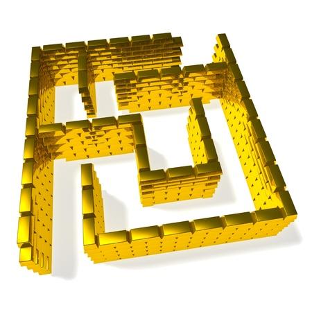 Maze from gold ingots on white background Stock Photo