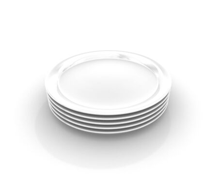 Heap from five white plates on white background Stock Photo