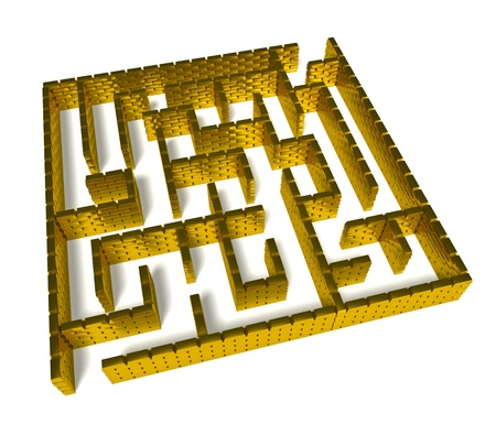 Maze from gold ingot on white background Stock Photo
