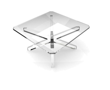 Glass table with shaddow on white background