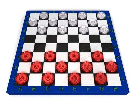 Red and white glass checkers on board