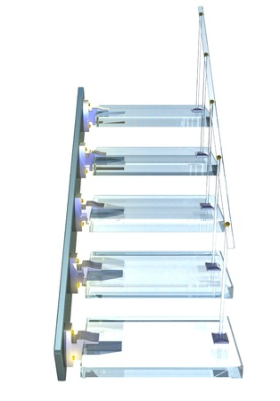 Blue glass Ladder with gold accessories